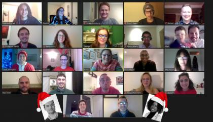 A screenshot of eftec staff members smiling through their webcams during the virtual Christmas party