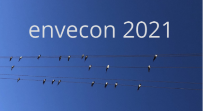 envecon 2021 banner. The words 'envecon 2021' hover above birds sitting on a phone line against a blue sky.
